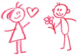 romantic stick figures_boy gives girl flowers